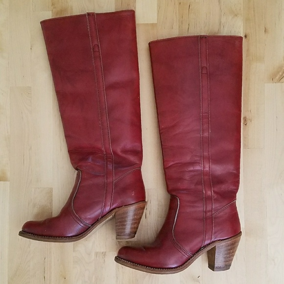 2ee8517fb2ea0 Vintage Red Dexter Stacked Heel Western Boot 5.5/6